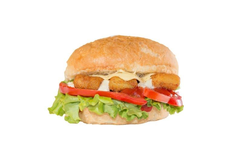 Rybich palców kanapka na białym tle fotografia stock