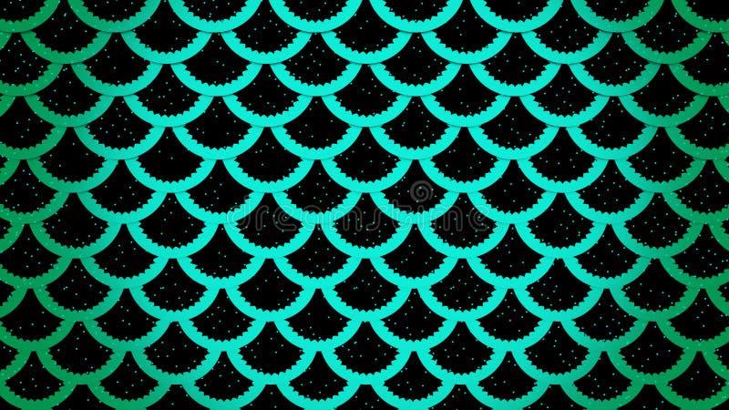 Rybich skal jaskrawe komórki deseniują morską tła 3D ilustrację ilustracja wektor