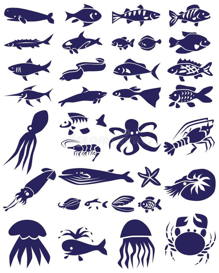 Rybie i morskie gad ikony na bielu ilustracja wektor