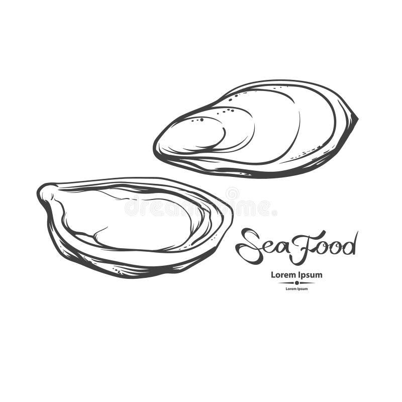 rybiego jedzenia pietruszki talerz piec morze ilustracja wektor