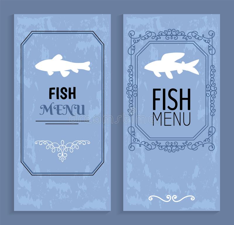 Rybiego menu Kolorowe karty z Białymi sylwetkami ilustracji