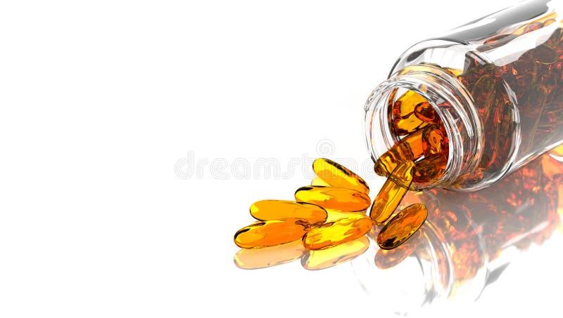 Rybiego oleju omega 3 w szklanej butelce 3 d czyni? royalty ilustracja