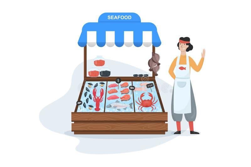 Rybiego rynku poj?cie Owoce morza w lodzie ?oso? i tu?czyk ilustracji