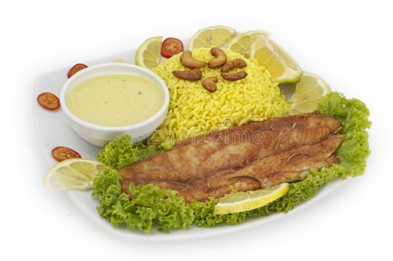 rybiego talerza ryż piec dziki obrazy stock