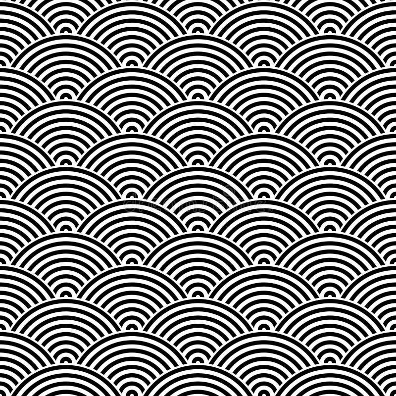 Rybiej skala bezszwowy deseniowy tło element projektu abstrakcyjne Czarna wektorowa ilustracja pasiaści koncentryczni okręgi royalty ilustracja