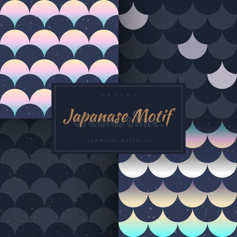 Rybiej skala japanase bezszwowi wzory wektorowi ilustracja wektor