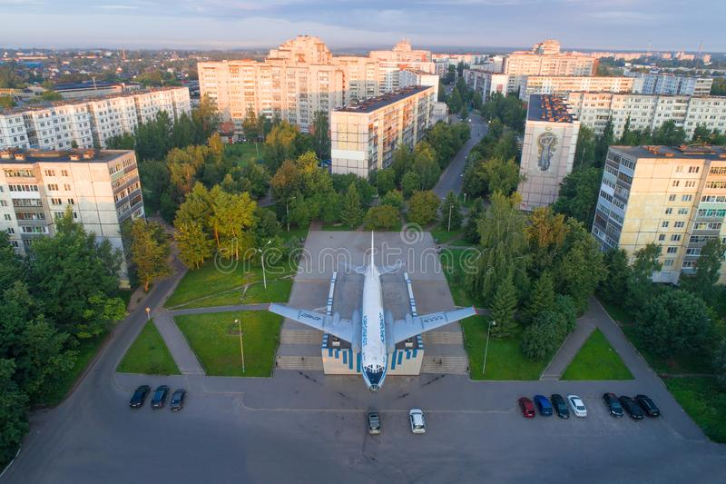 Top view of the Tu-104A plane - a monument royalty free stock image