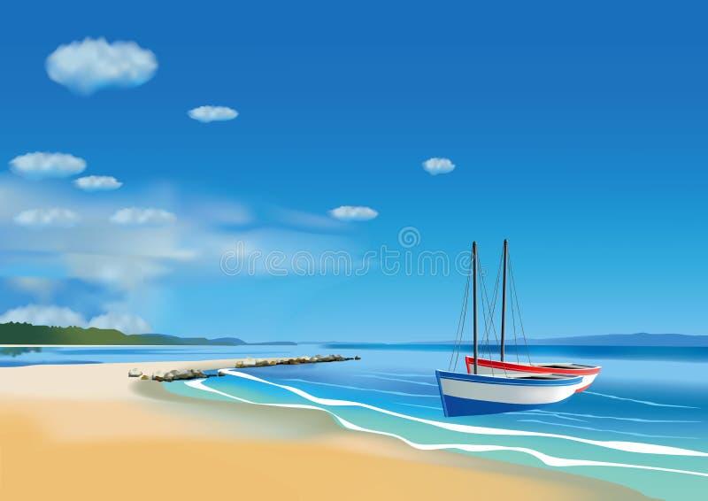 ryby dwie łodzie ilustracji