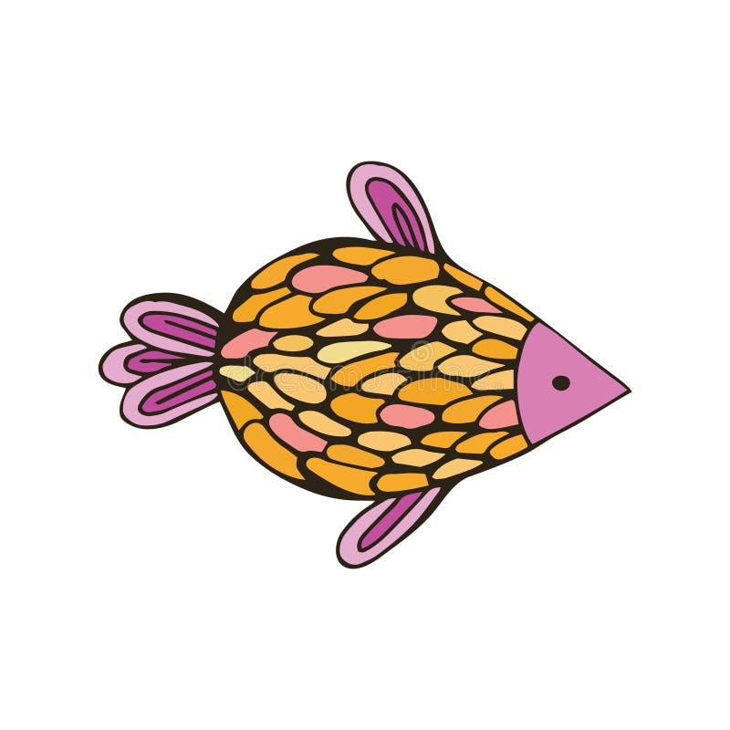 Ryby kolorowe w stylu rysowania ręcznego. Izolowany obiekt na białym tle. Ilustracja wektorowa, styl kreskówki dla dzieci ilustracja wektor