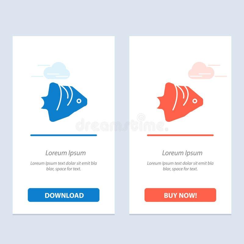 Ryby, korala, oceanu, Uczyć kogoś, sztandaru sieci Widget karty szablon, Błękitnej i Czerwonej ściągania i zakupu Teraz ilustracji