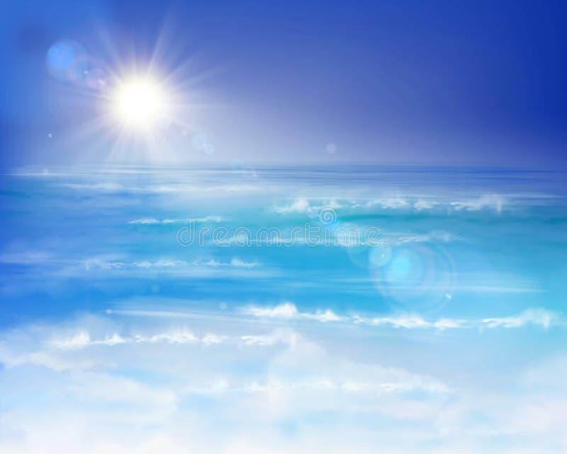 ryby morskie statki mewa niebo wznoszą się wschód słońca ilustracji