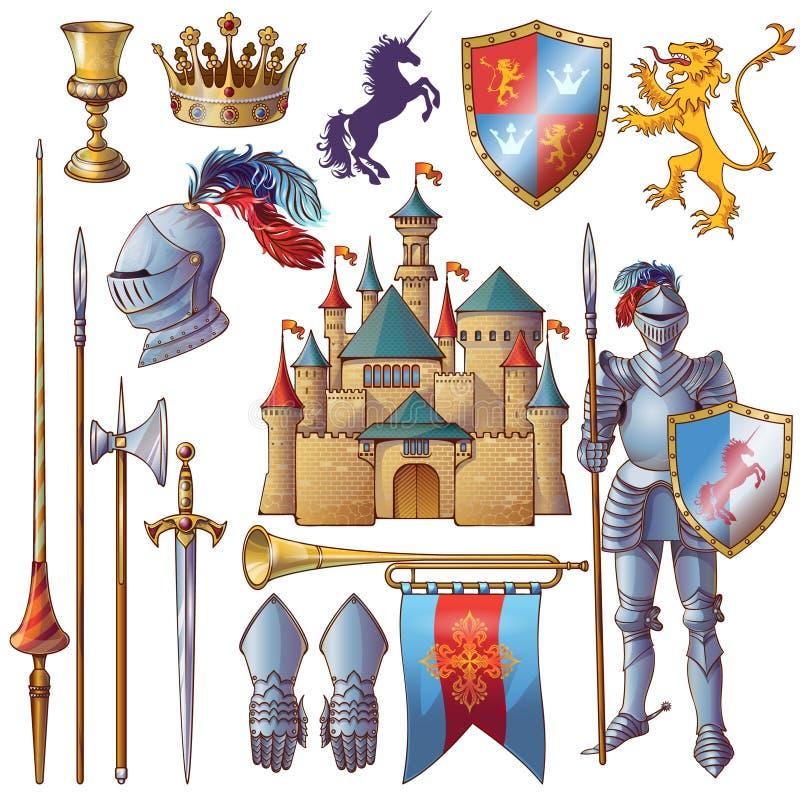 Rycerz Dekoracyjne ikony Ustawiać ilustracja wektor