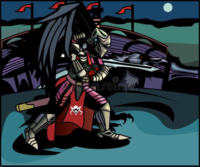 Rycerz i kruk przygotowywaliśmy dla bitwy royalty ilustracja
