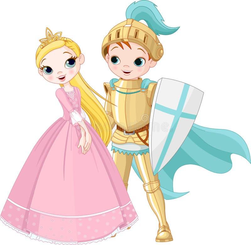 Rycerz i Princess royalty ilustracja