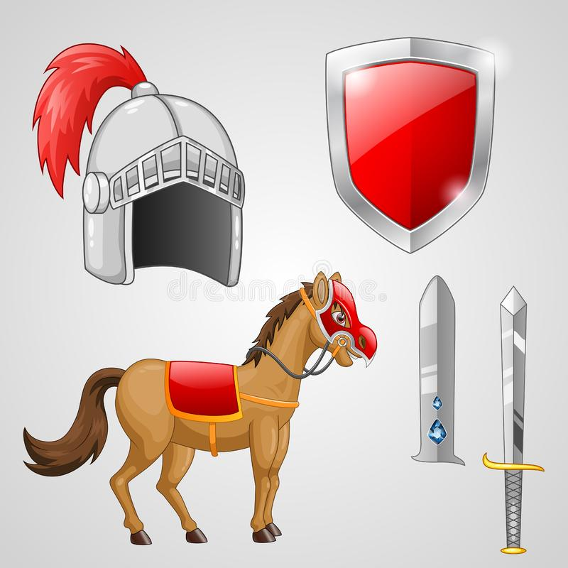 Rycerz jedzie konia z opancerzeniem royalty ilustracja