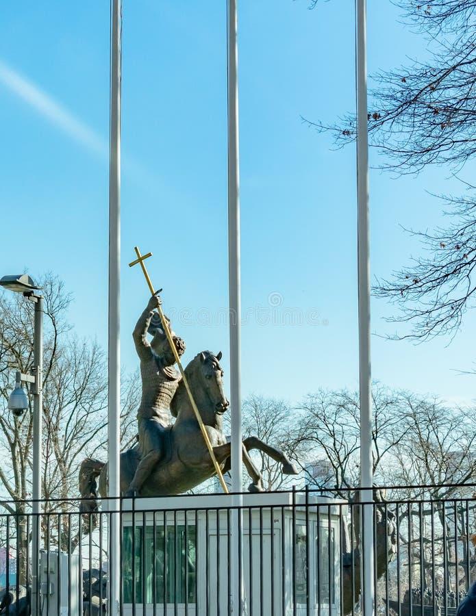 Rycerz na Końskiej statui w Nowy Jork zdjęcie royalty free