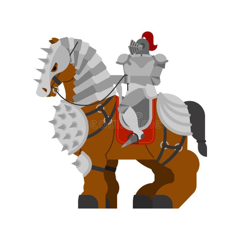 Rycerz na koniu Clydesdale Silny ciężki rumak Kreskówki zwierzę v royalty ilustracja