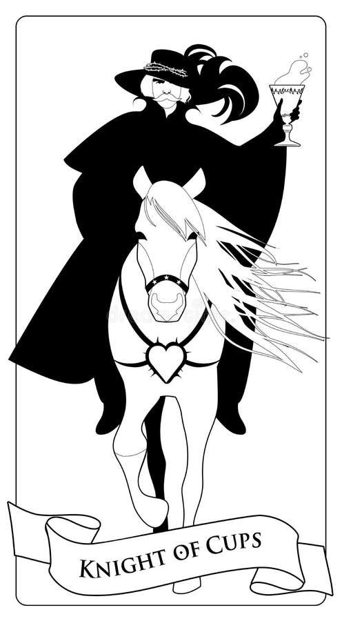 Rycerz ubierał w starym stylu z wąsy i opierzonym kapeluszem z złotą filiżanką w jego ręce, jedzie eleganckiego konia ilustracji