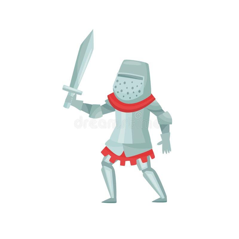 Rycerz z kordzikiem w ręce w bój pozie Średniowieczny wojownik w metalu opancerzeniu tła postać z kreskówki zuchwałych ślicznych  ilustracji