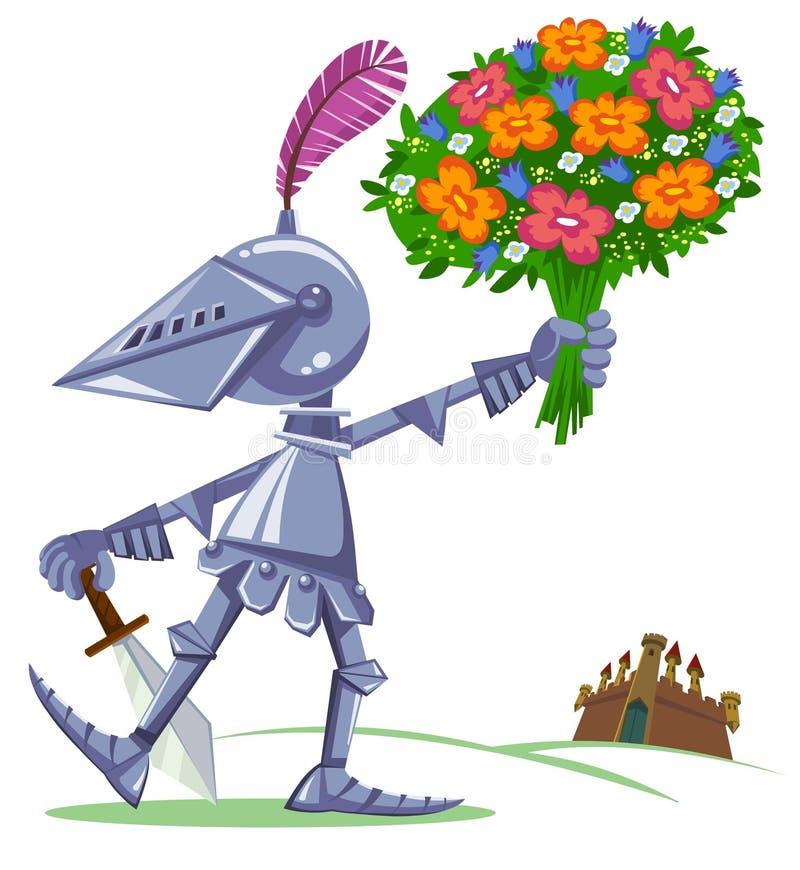 Rycerz z kwiatami ilustracji