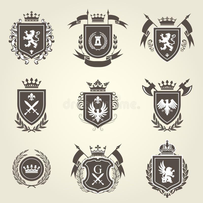 Rycerza żakiet ręki i heraldyczni osłoien blazons ilustracji