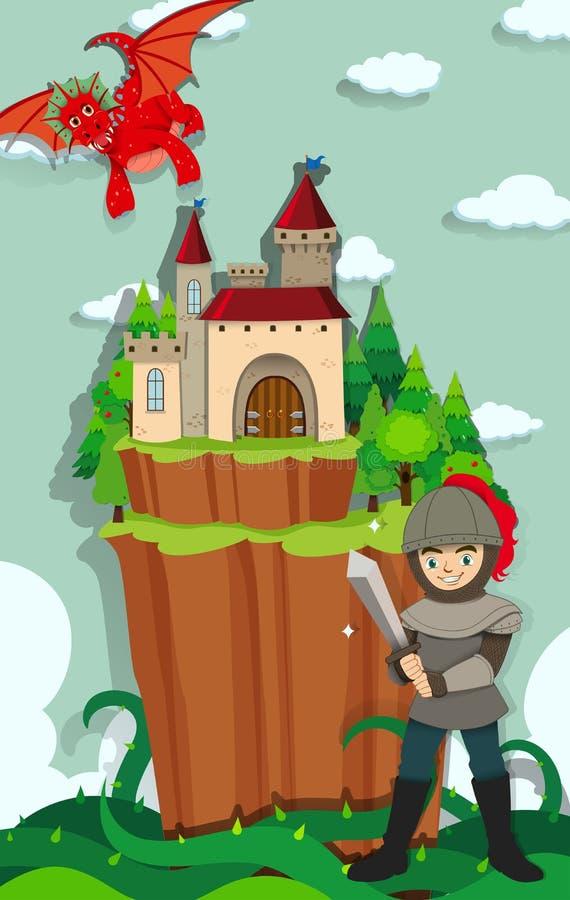 Rycerza bój z smokiem ilustracja wektor