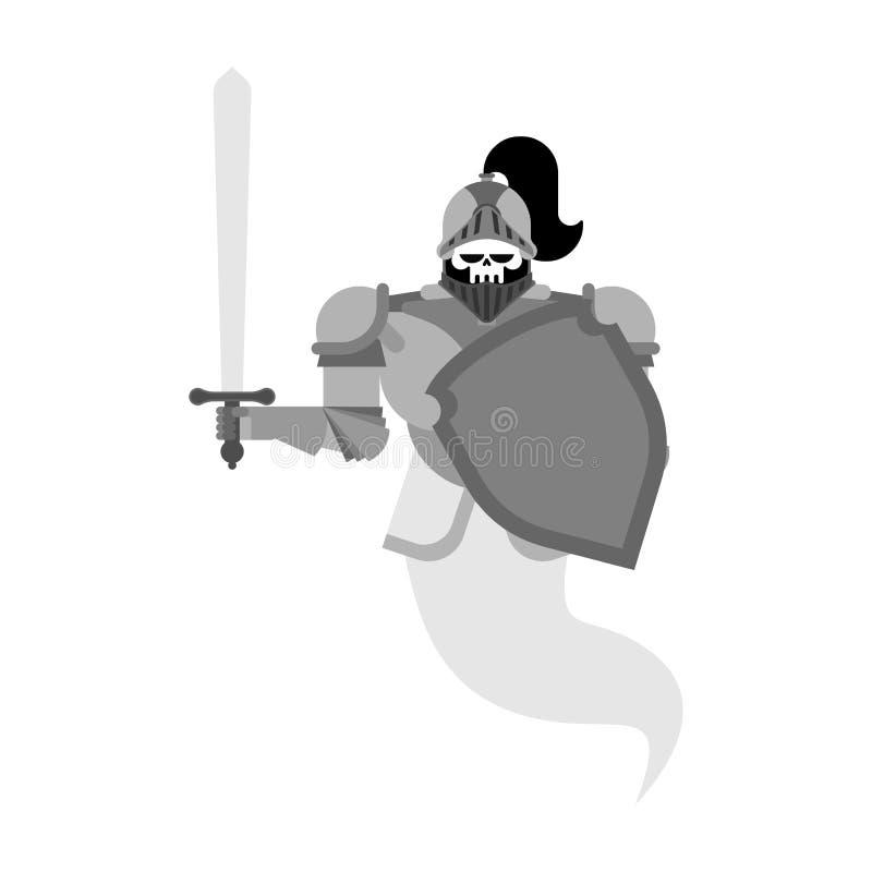 Rycerza ducha czaszka Metalu opancerzenia wojownik Żelazny opancerzenie Wektorowa bolączka royalty ilustracja
