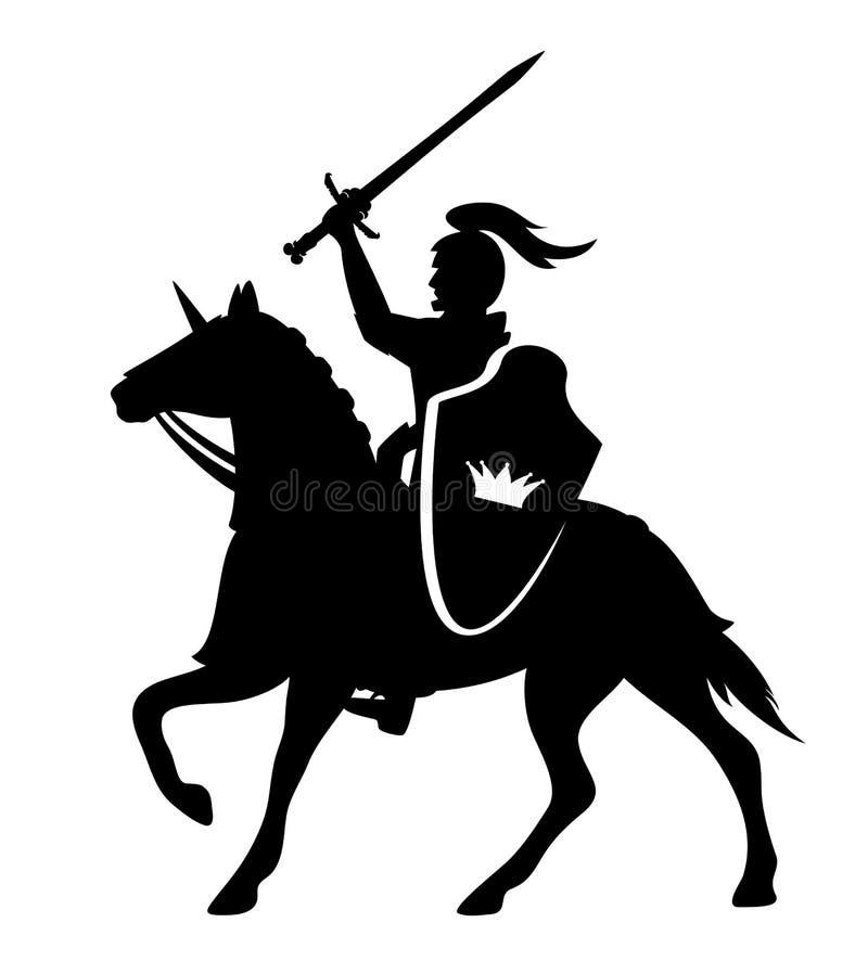 Rycerza jeździeckiego konia czerni wektorowy projekt ilustracja wektor