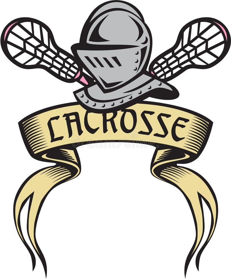 Rycerza opancerzenia Lacrosse kija Woodcut royalty ilustracja