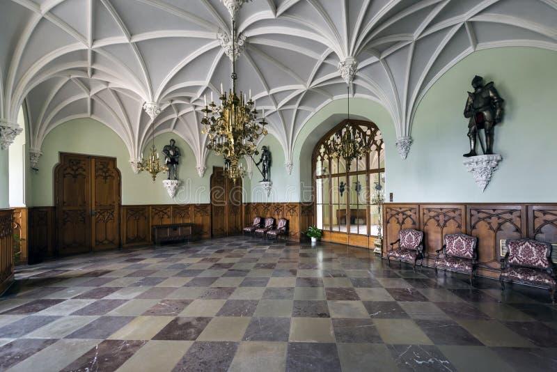 Rycerza ` s Hall w Lednice kasztelu zdjęcie royalty free