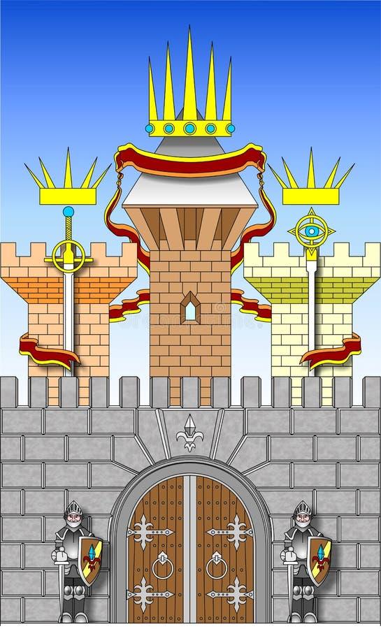 Rycerza strażnika bramy kasztel w wektorze ilustracja wektor