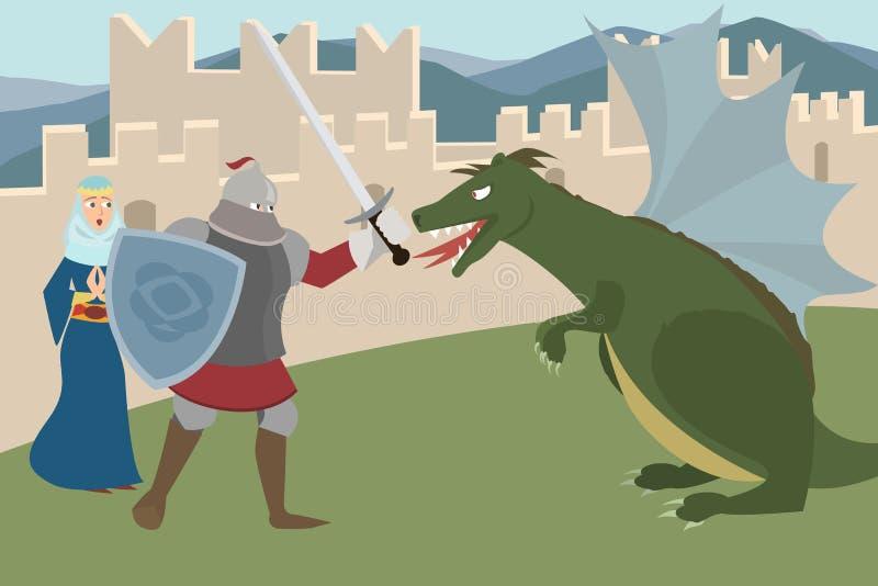 Rycerza walczący smok, oszczędzania princess wektoru kreskówka ilustracja wektor