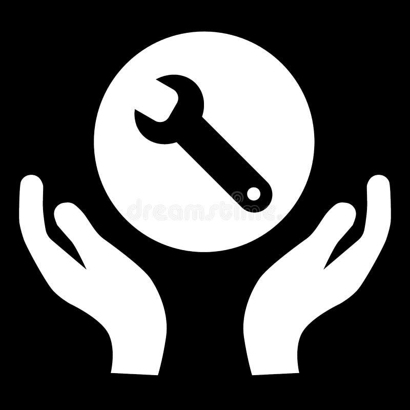 Rycka häftigt i handlinjen symbol teknisk service Reparationsservice Plan enkel fast illustration som isoleras på svart royaltyfri illustrationer