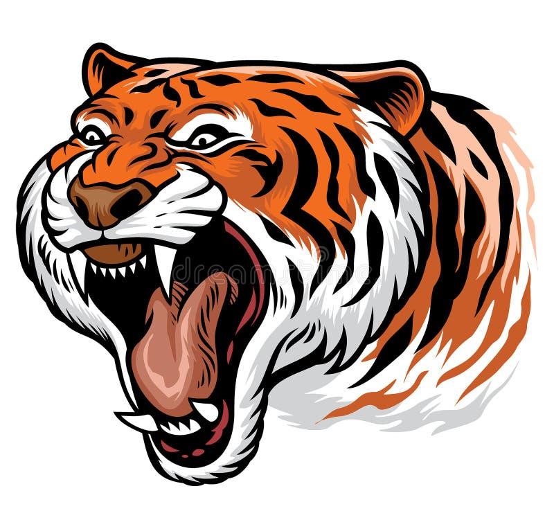 Ryczeć gniewnego tygrysa royalty ilustracja