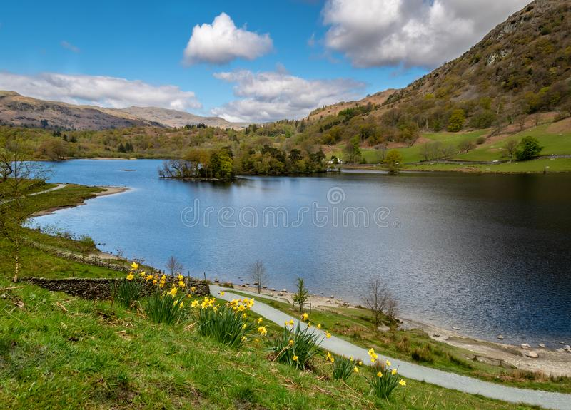 Rydal水在湖区,英国 免版税图库摄影