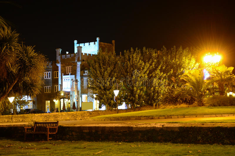 Ryde Castle Illuminated at Night. Ryde Castle Hotel and Restaurant is a traditional English manor situated on Ryde Seafront on the Isle of Wight, UK. It was stock photography
