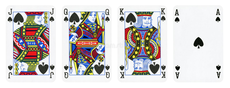 Rydla kostiumu karty do gry, set zawierają królewiątko, królowej, Jack i Ace, ilustracji