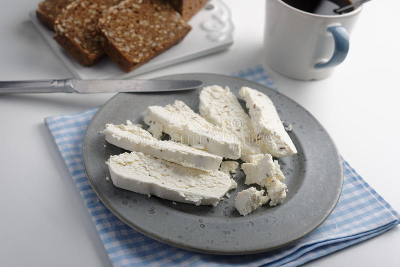 Rye bread, cheese and coffee royalty free stock photo