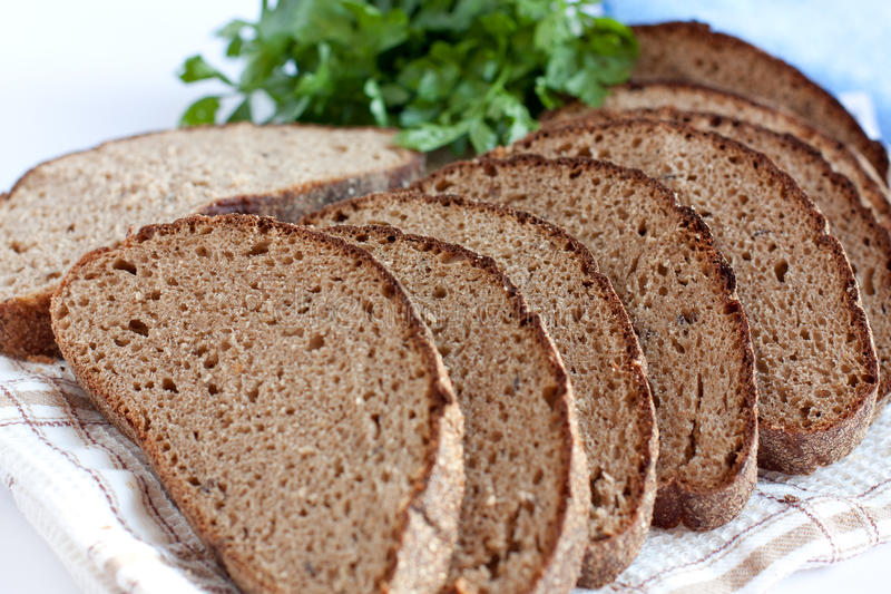 Rye bread, cut into chunks. Corn bread made from flour and bran royalty free stock photography