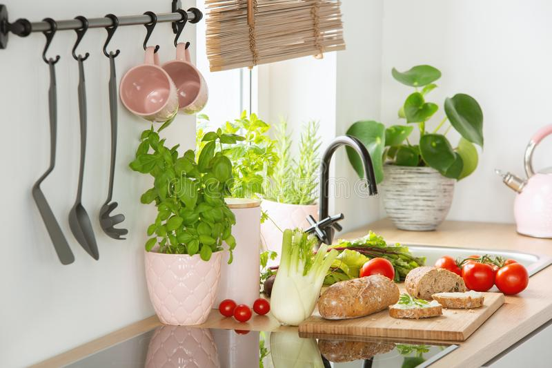 Rye bread on a cutting board, tomatoes and vegetables on a white kitchen interior countertop with Basil herbs in a pink pot royalty free stock photo