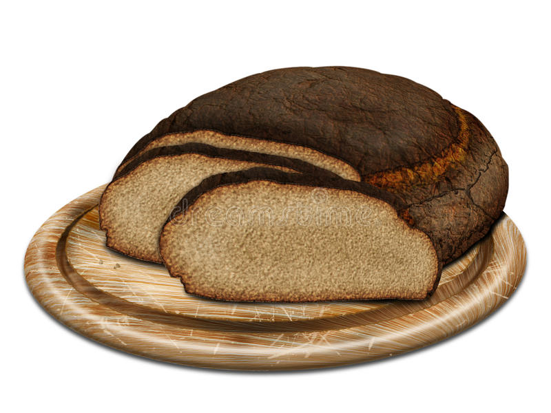 Rye bread on desk. Fresh rye bread on wood desk stock illustration