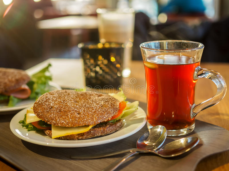 Rye bread, Finland`s national dish with local hot glogg drink stock images