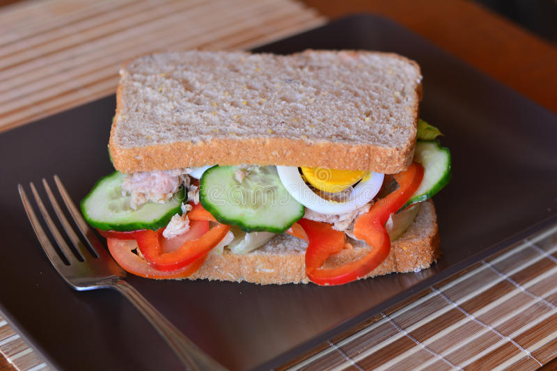 Rye bread sandwich with tuna fish, eggs, tomato and cucumber royalty free stock image