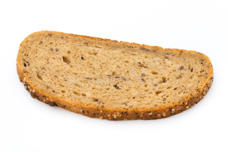Rye bread slice isolated on white background. stock images