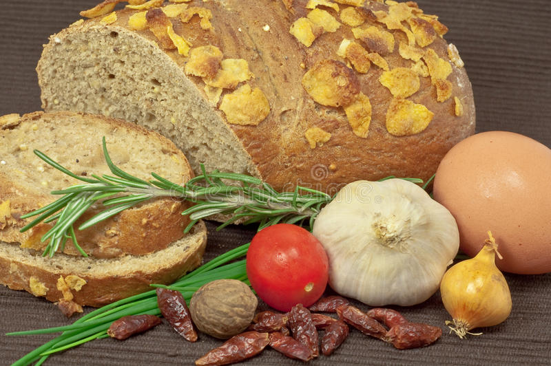 Rye bread and vegetables royalty free stock photography
