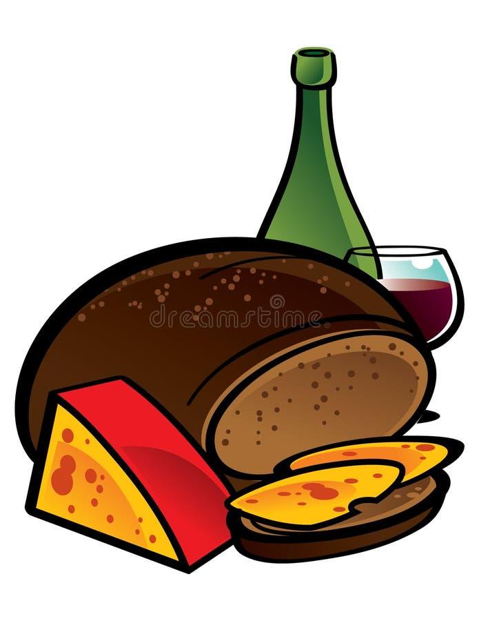 Rye-Brot und Käse lizenzfreie abbildung