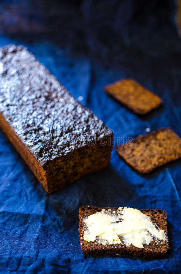 Rye flour and malt bread stock photography