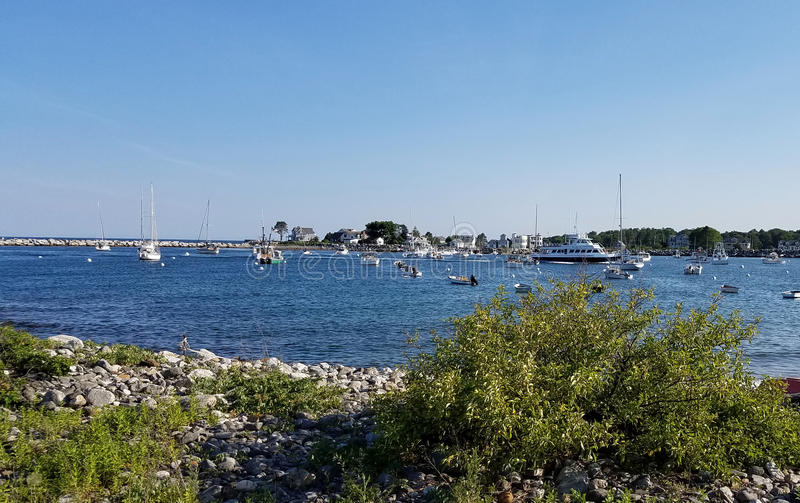 Rye Harbor. Small Atlantic Ocean harbor between Rye and Portsmouth, NH. Many lobster boats, whale watch boats and ferry to Isles of Shoals stock photography