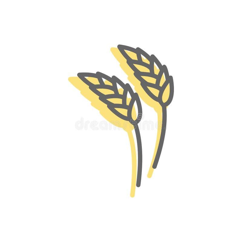 Rye-Ohrlinie Ikone Weizen Zeichen für Produktion des Brotes und des Bäckers vektor abbildung