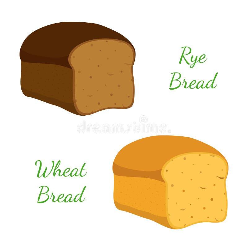 Rye, pão integral, naco inteiro da grão, padaria, pastelaria Estilo dos desenhos animados Vetor ilustração do vetor